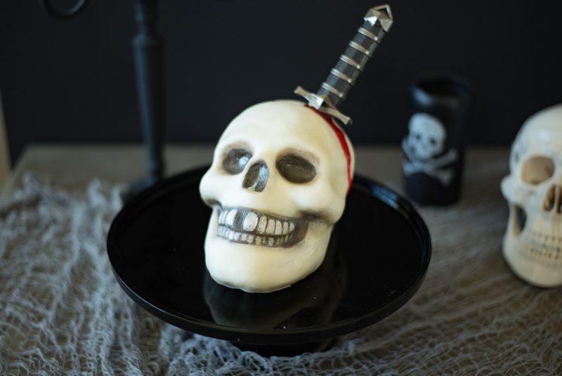 Halloween Skull and Dagger Cake