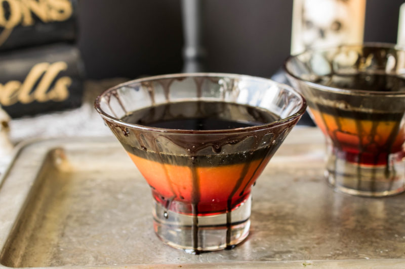 Halloween spooky screwdriver is a fun adult cocktail for everyone's favorite scary holiday with a mocktail option so no one is left out of the frightening fun. Layers of grenadine, orange juice and black colored vodka.