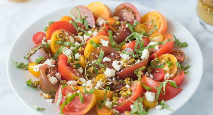 Heirloom tomato salad with feta and pistachios