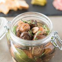 Herb and garlic marinated mushrooms