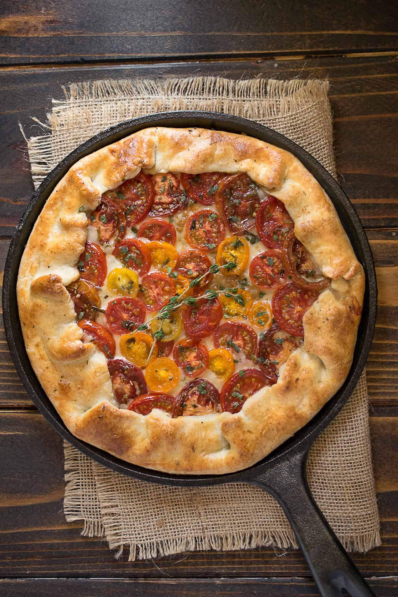 Herbed tomato galette viewed from above