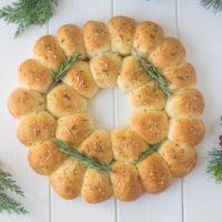 Holiday rosemary bread wreath