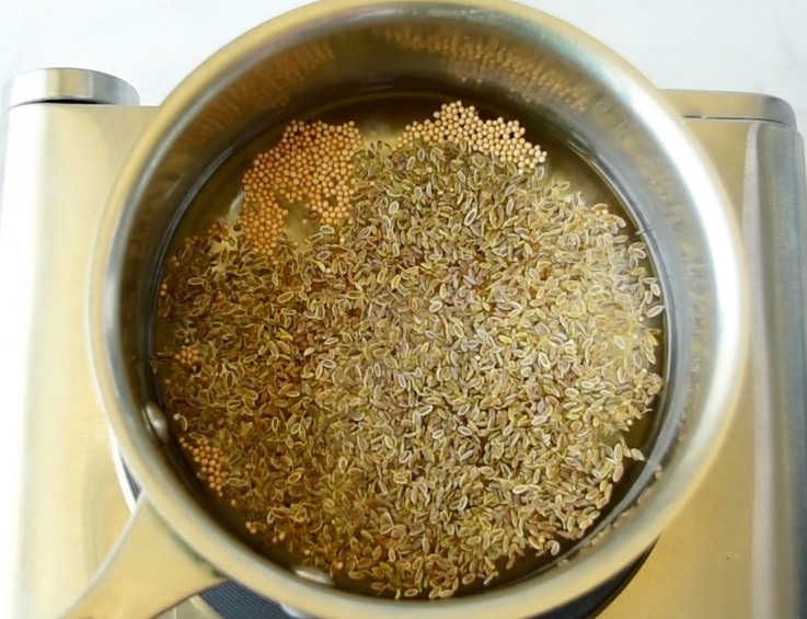 Pickling spices and vinegar in a pan