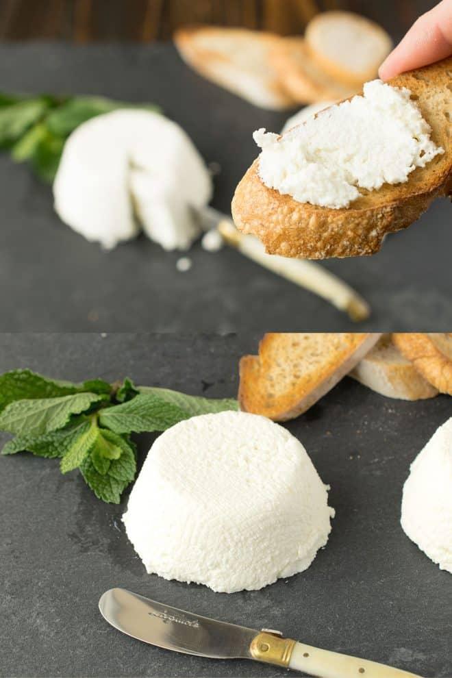 Ricotta spread onto crusty bread