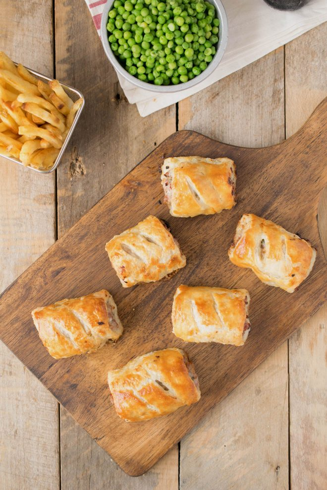 Sausage rolls viewed from overhead