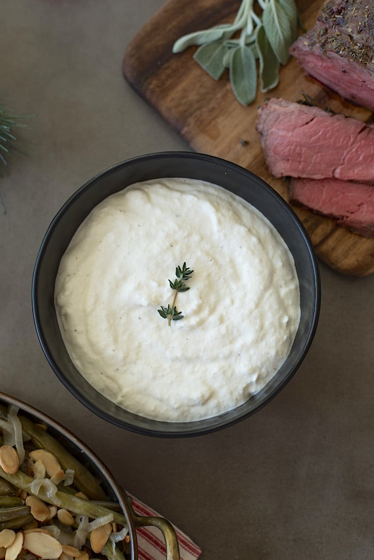 After trying this homemade creamy horseradish sauce, you will never buy store bought again.  This is a light, tangy, yet cooling sauce that is the perfect accompaniment to any roast beef dish and is really quick and easy to make.