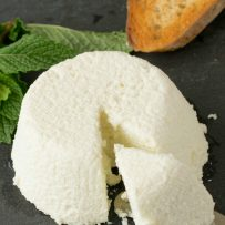 A mound of homemade ricotta