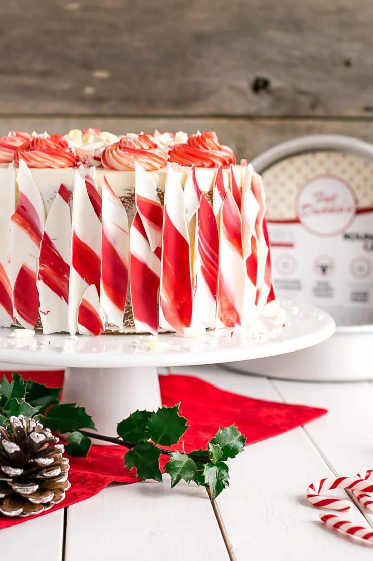 A red and white decorated cake