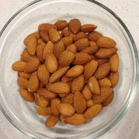 A bowl of raw almonds