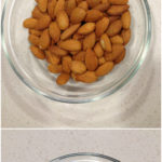 A bowl of raw almonds and a bowl of peeled almonds