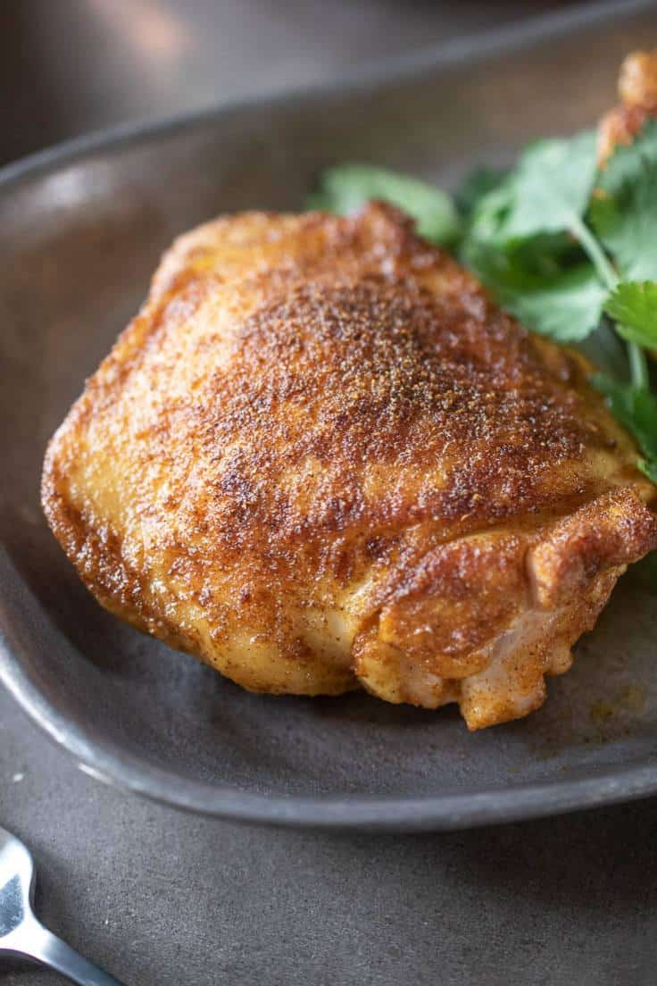 A closeup showing the spiced browned and the skin crispy