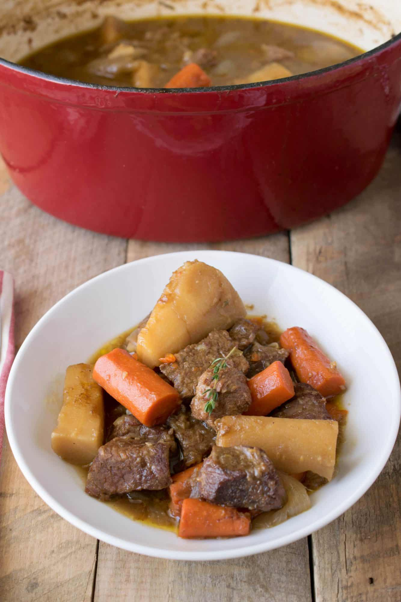 Irish beef and Guinness stew, large chunks of beef, carrots and parsnip