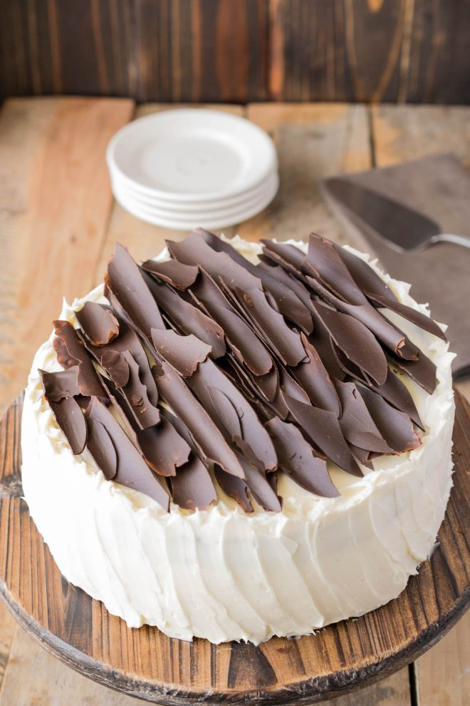 Irish Chocolate Cake using Irish butter covered with a Baileys frosting and chocolate shards