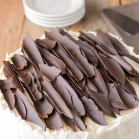 The coolest looking chocolate shards on top of a simple but pretty cake