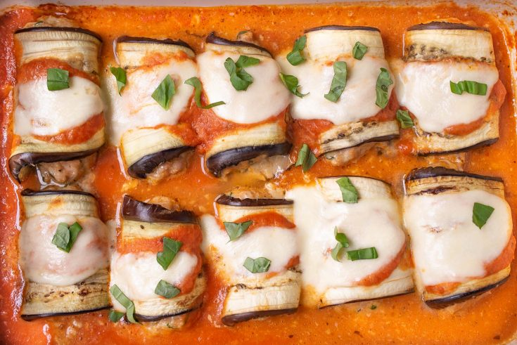 8 eggplant rolls filled with Italian sausage topped with mozzarella in marinara sauce