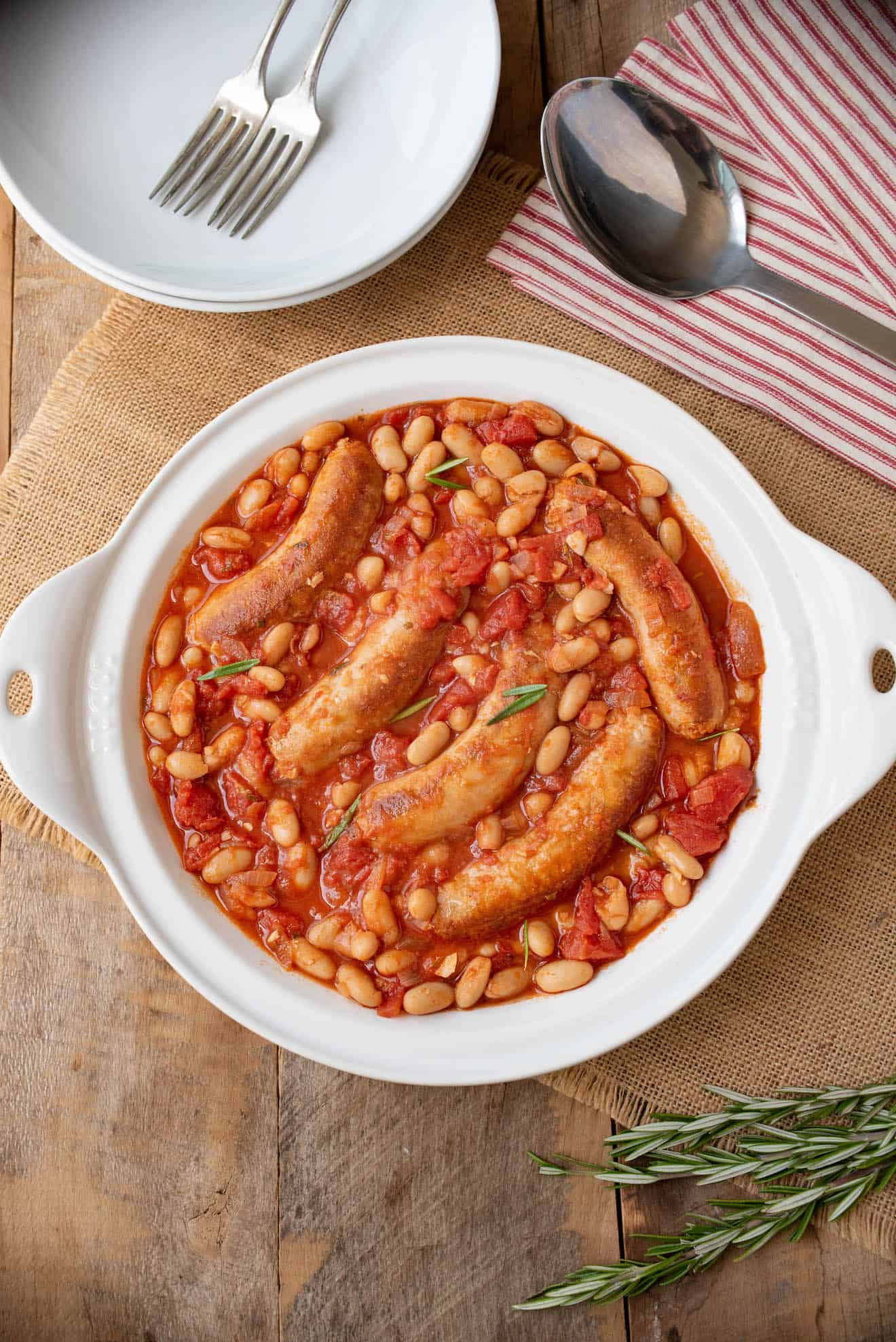 Italian sausage and beans from overhead