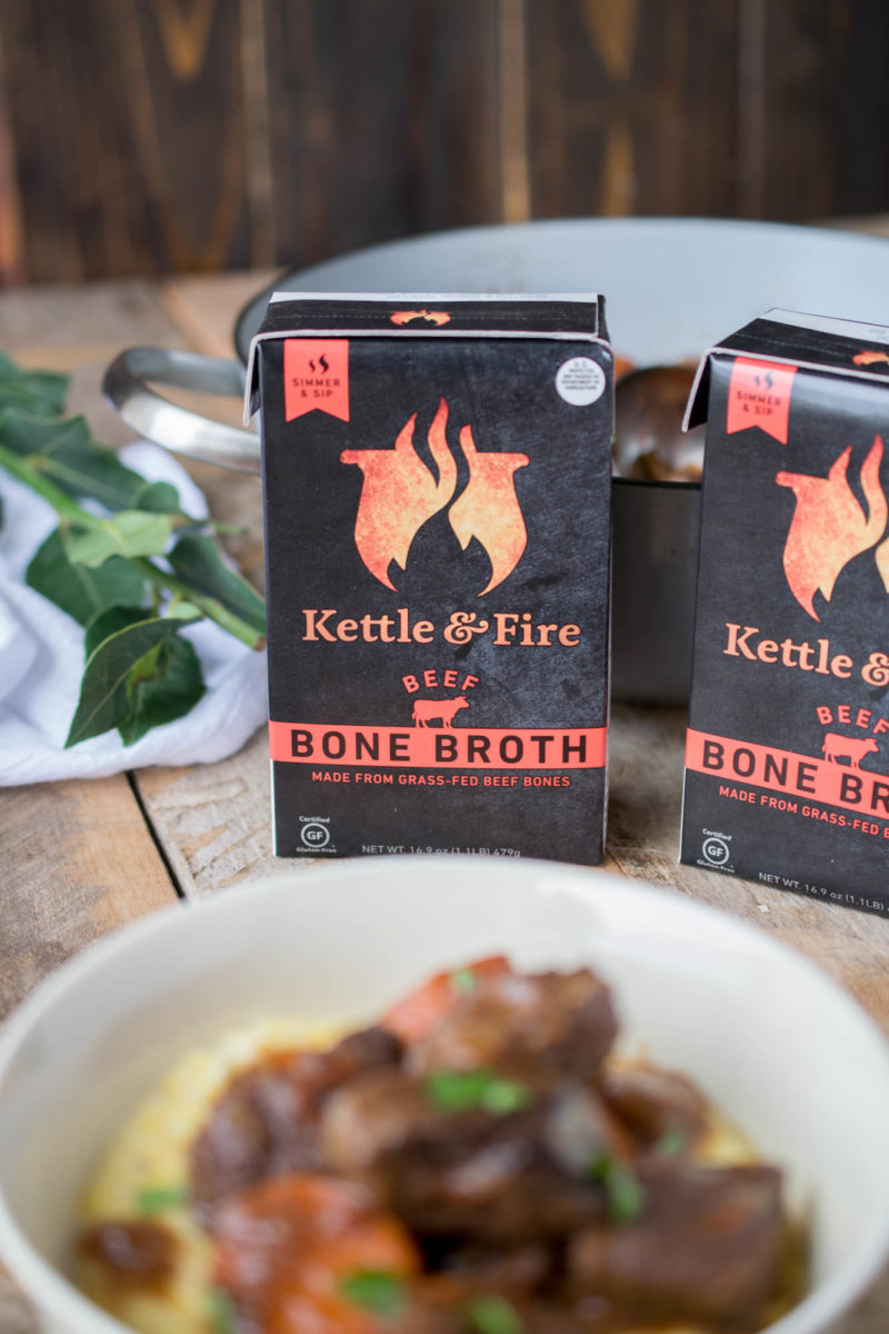 The containers beef bone broth used in the stew