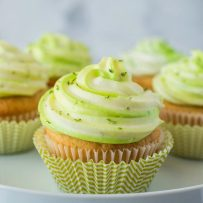 Key lime cupcakes with green and white frosting
