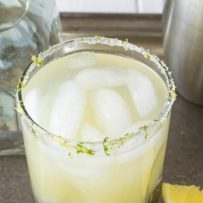 A closeup showing a salt, lemon and lime rimmed glass