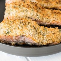 A closeup showing the panko breading on the salmon