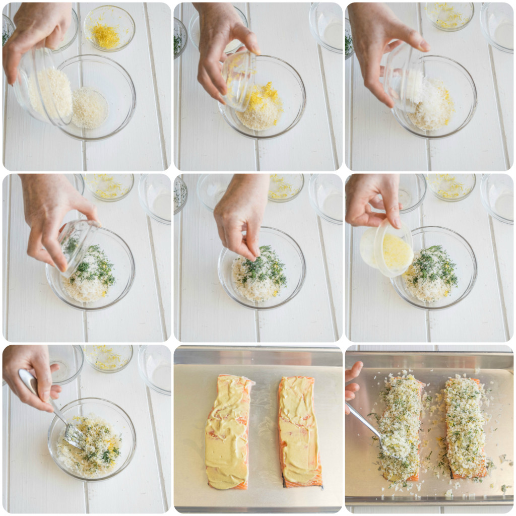 Lemon parmesan crusted salmon recipe. Seared salmon topped with dijon mustard and a delicious lemon, parmesan and dill panko topping.