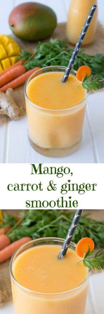 This mango, carrot & ginger smoothie is a delicious and nutrient-filled breakfast or workout snack. Healthy fruit & veggies are blended smooth along with added protein from Greek yogurt.