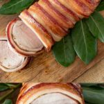 Maple bacon wrapped pork tenderloin and a closeup