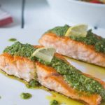 Salmon with peso sauce