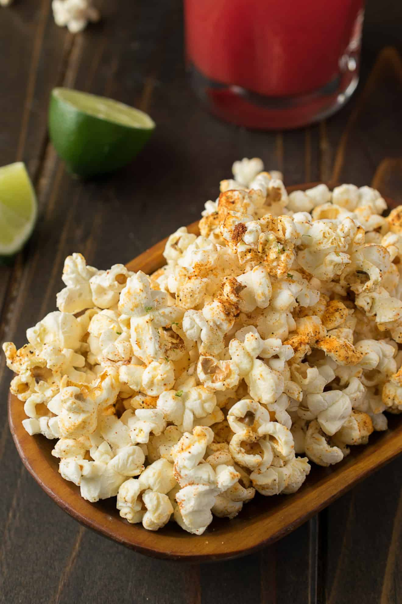 Mexican popcorn garnished with lime zest in a bowl