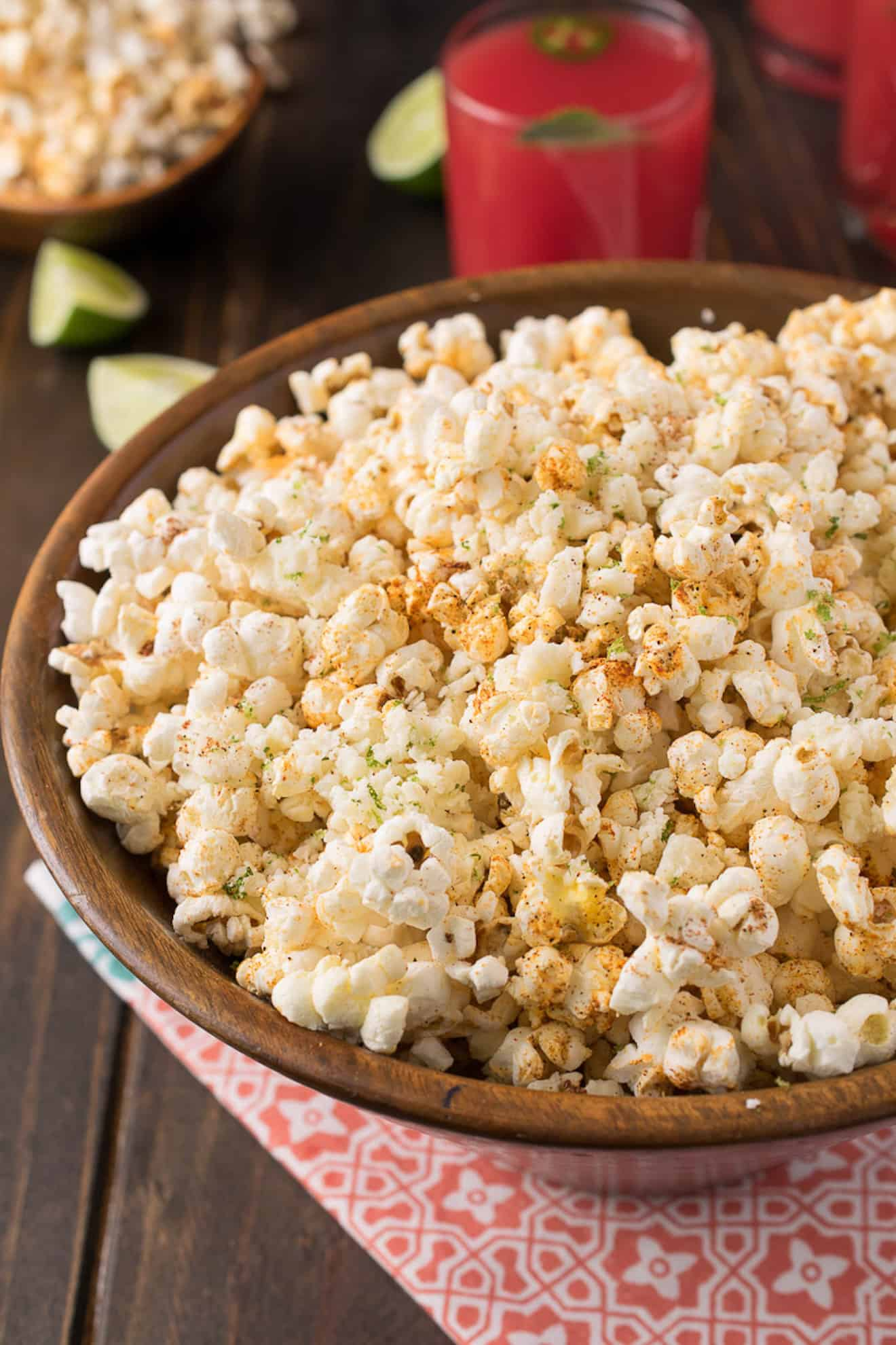 A large round bowl filled with Mexican popcorn