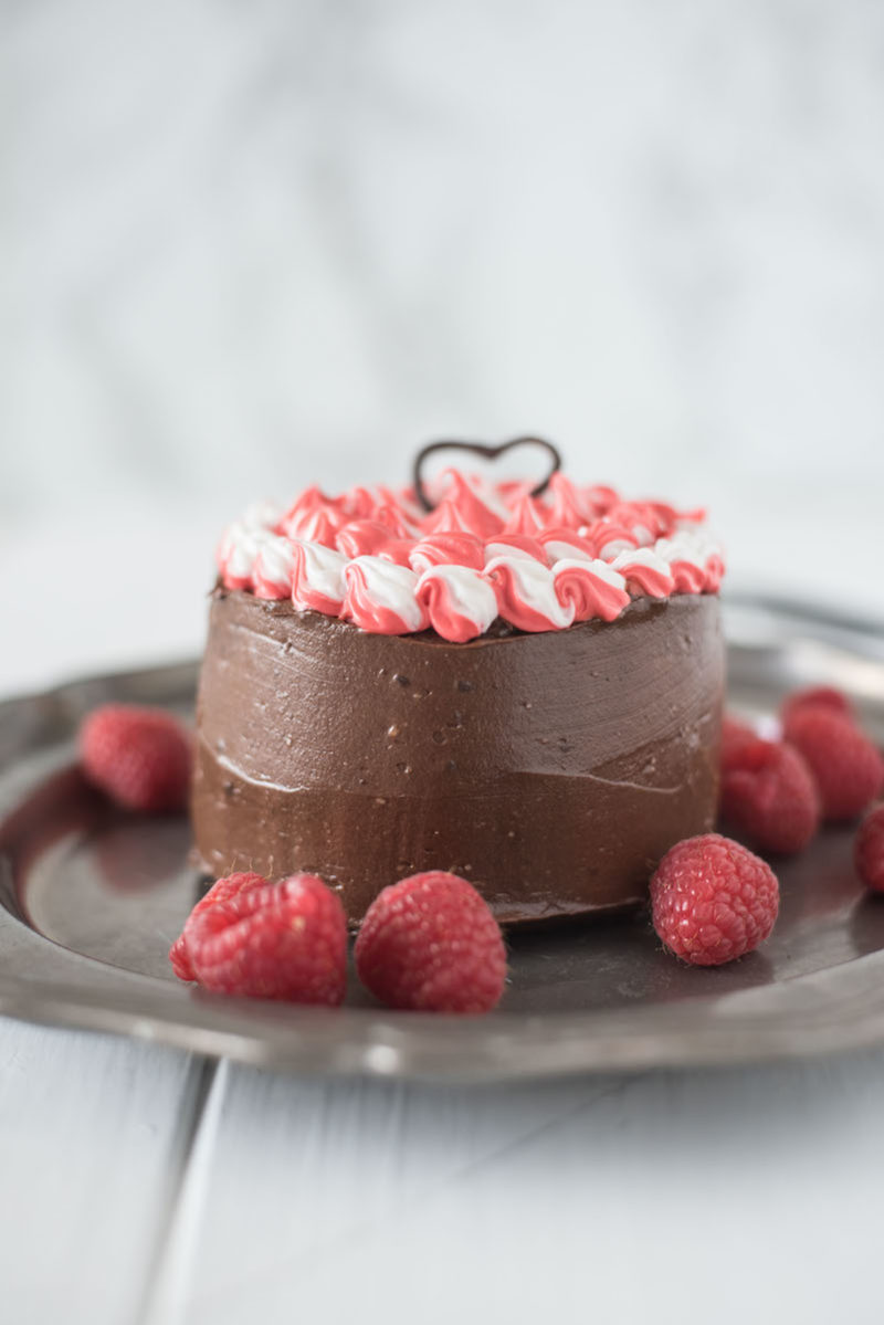 Mini chocolate cake for two is a chocolate lovers dream. Rich chocolate cake is smothered in gorgeous dark chocolate frosting with a little special frosting.