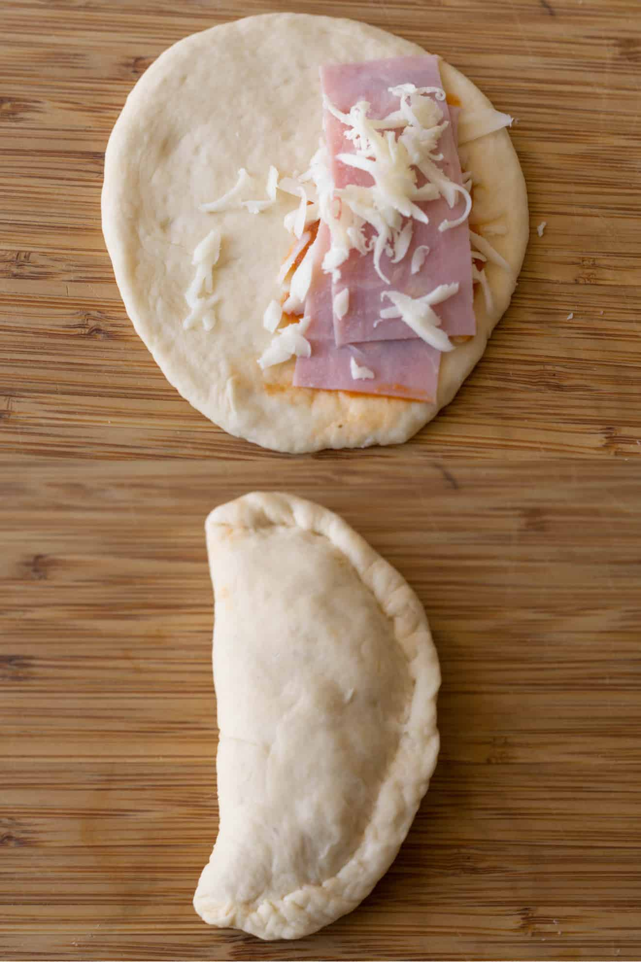 The making of a ham and cheese calzone. Uncooked pizza dough with ham and cheese, then folded over