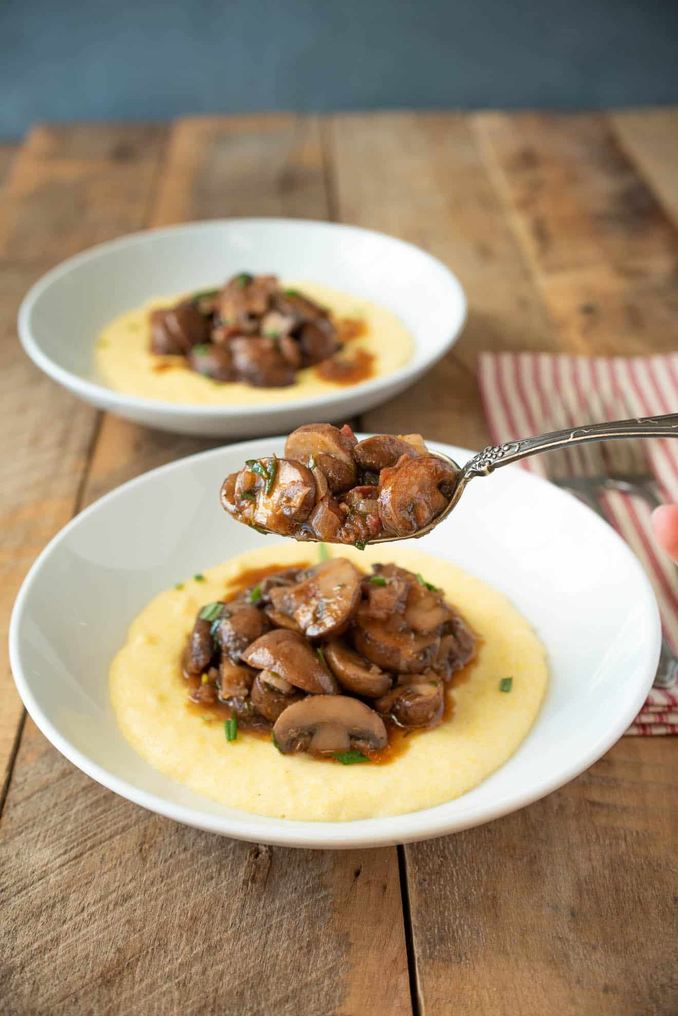 A spoonful of mushroom ragu