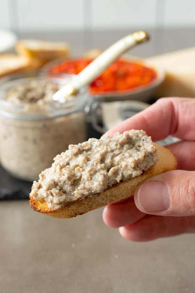 Mushroom pate on a crostini piece of bread
