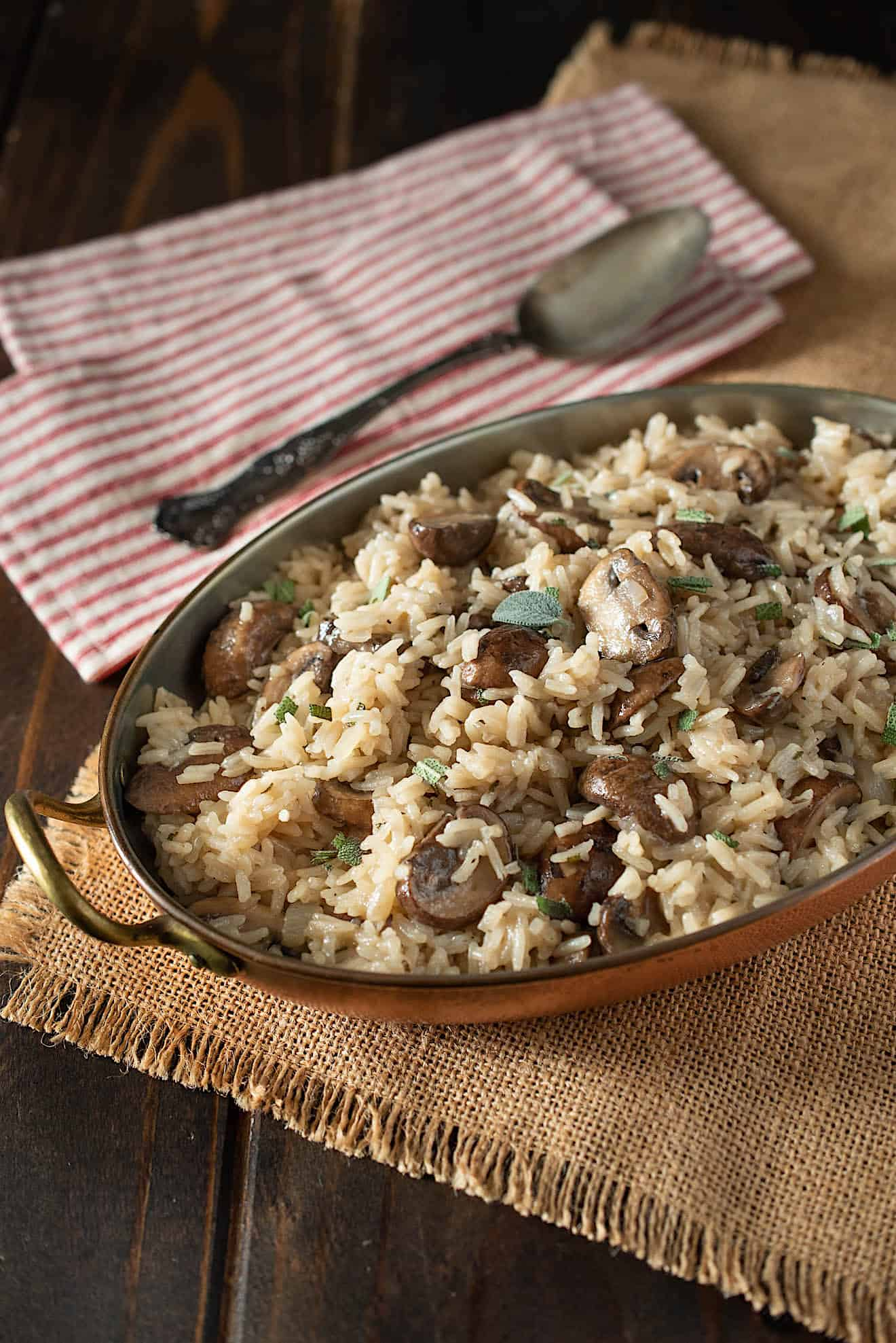 Meaty mushrooms and fresh sage in a rice pilaf