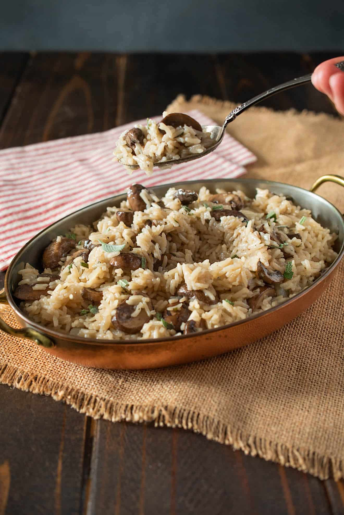 A spoonful of mushroom and sage rice pilaf