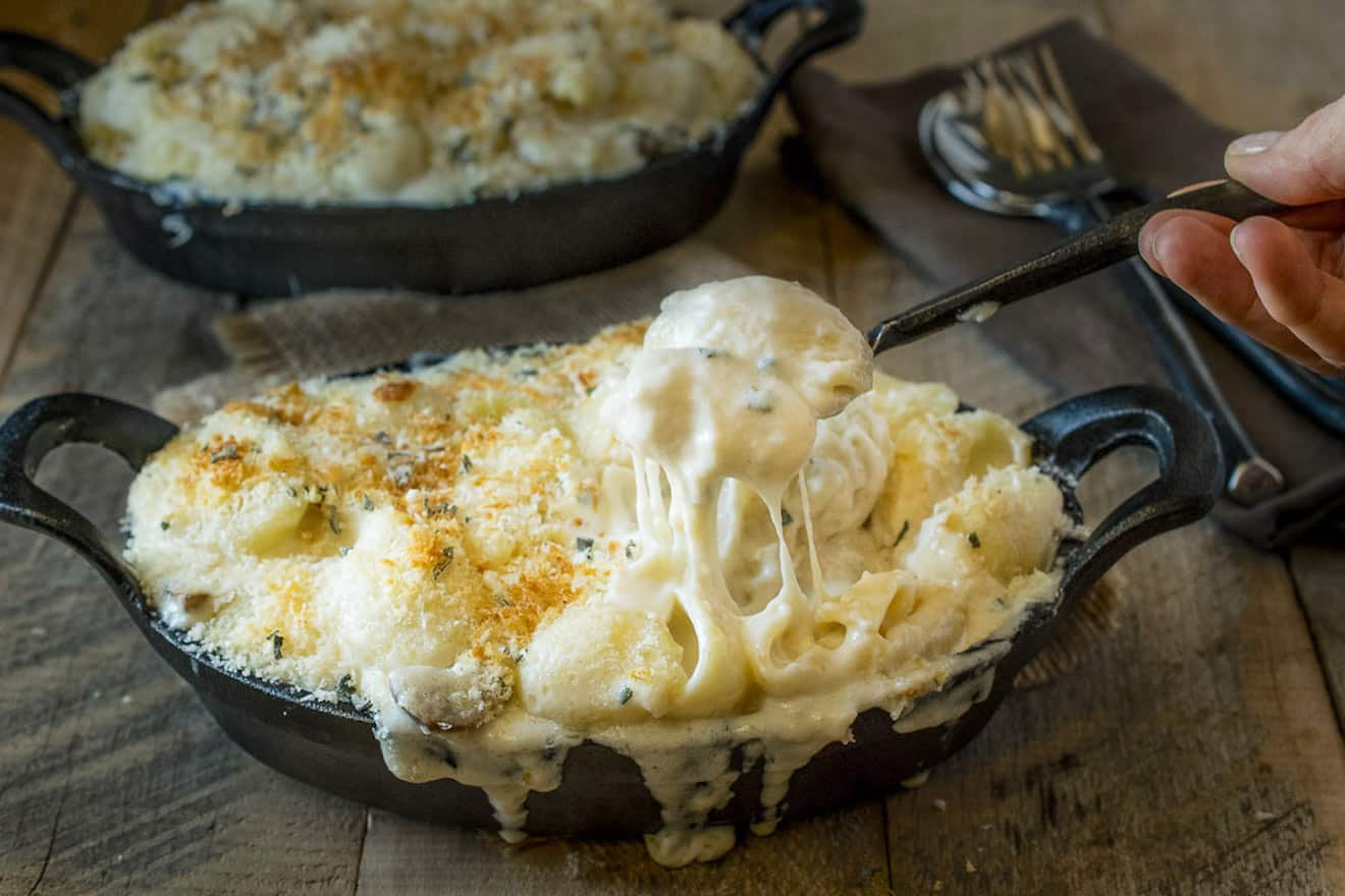 A spoonful of gooey, cheesy mushroom sage mac and cheese