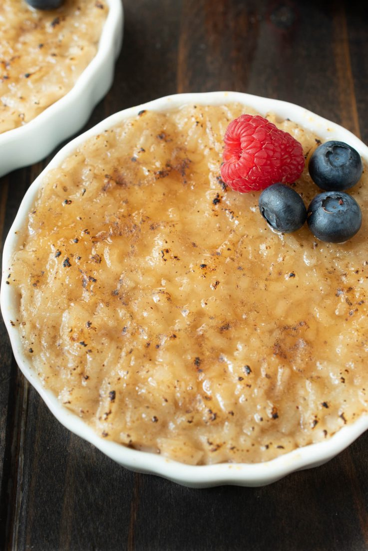 A closeup of the rice pudding with a browned, crispy brûléed top