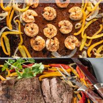 Shrimp and beef fajitas cooking with vegetables