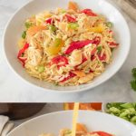 Colorful orange and red colors of vegetables and fruit in orzo