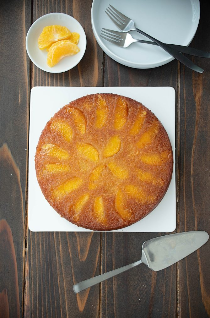 The cake viewed from overhead showing the orange segments on top