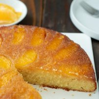 Perfectly moist cake topped with salted caramel and orange segments