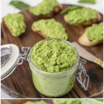 Pea and mint pesto in a jar and on a crostini