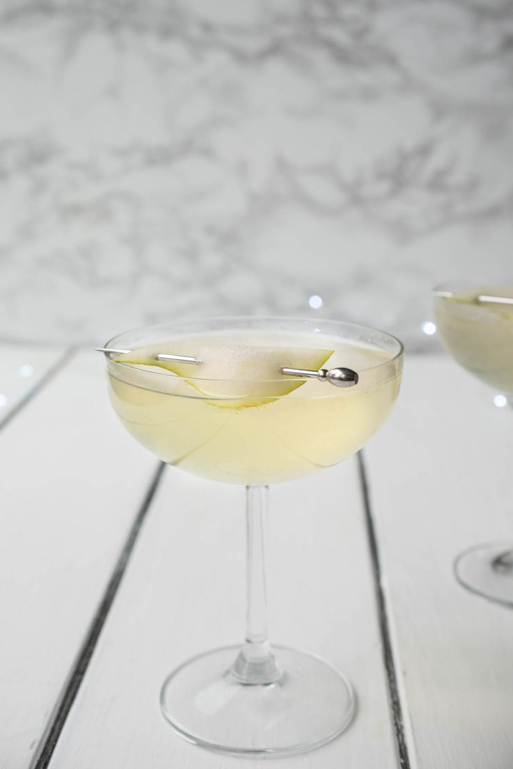 Pear Ginger Champagne Cocktail from the side