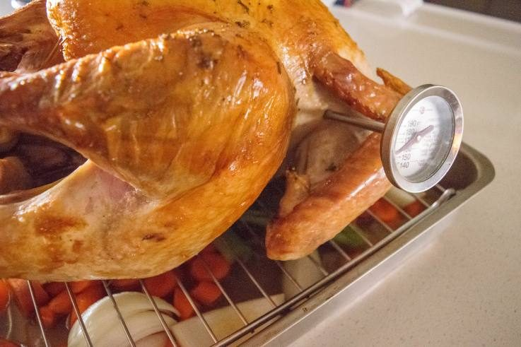 A closeup of a meat thermometer reading the temperature of the turkey