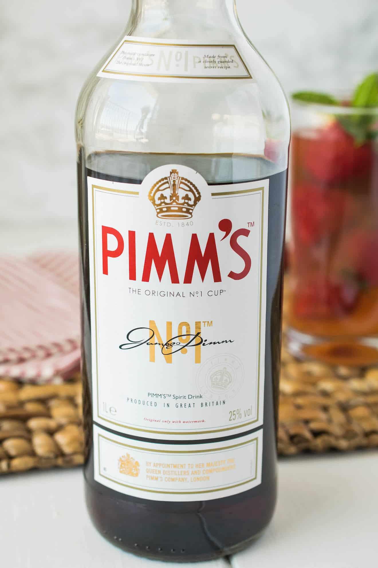 A bottle of Pimm's no. 1 cup liqueur