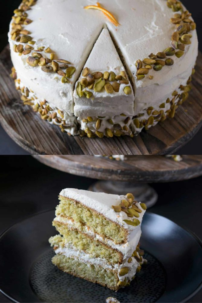A slice of pistachio cake on a plate with another view of the cake above it with a slice cut but not removed from the whole cake
