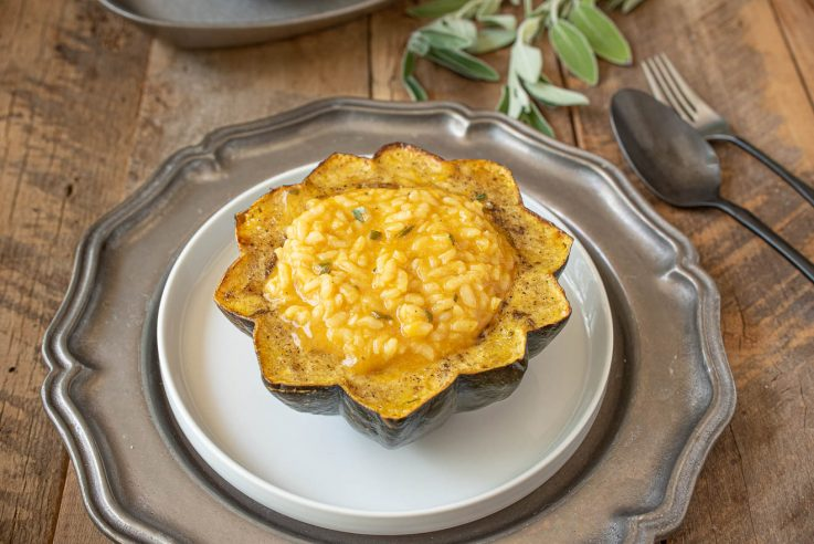 Half an acorn squash filled with pumpkin risotto