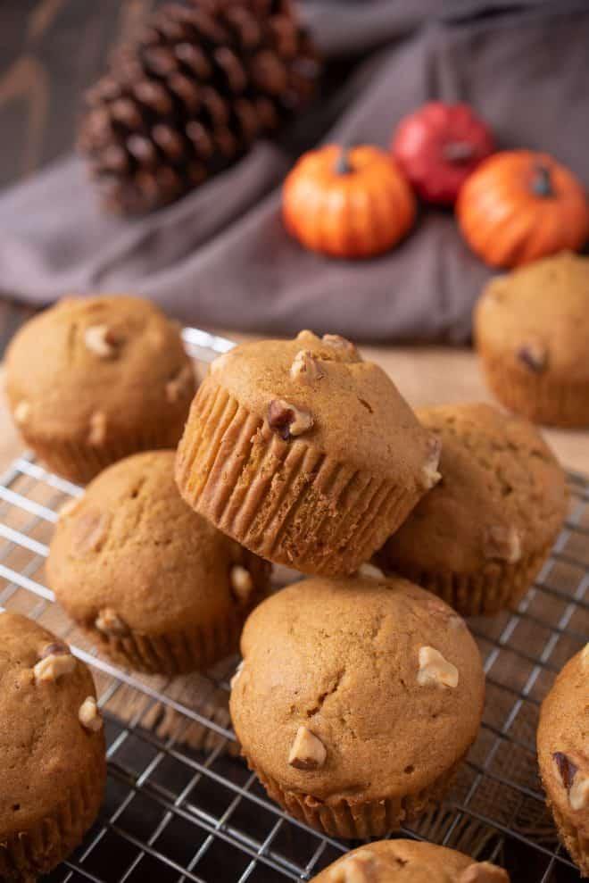 Pumpkin Walnut Muffins on a cooling rack
