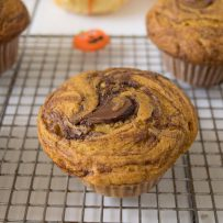 The top of a muffin showing nutella swirled throughout